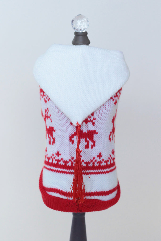 Red & White Hoodie Sweater