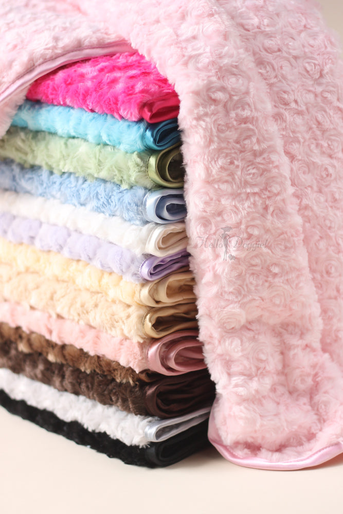 rosebud, blanket, dog, doggie, hello, kitty, cat, kitten, puppy, pet, products, dog blanket, cat blanket, comfy, dreamy, fabulous, handcrafted, usa, luxurious, luxury, luxury pet blankets, plush, rose, satin, trim, soft, blue, black, chocolate, tan, silver, pink, fuchsia, hot pink, lilac, purple, cream, warm,