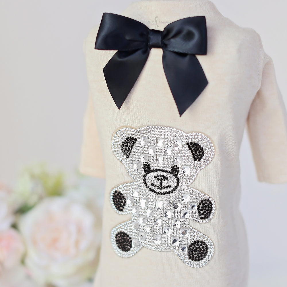teddy, bow, tee, hello, doggie, dog, puppy, pup, bear, teddy bow, t-shirt, clothing, clothes, dog clothes, puppy clothes, dog tee, puppy tee, teacup, teacup puppy, teacup clothes, luxury dog clothes, luxury, luxury pet,
