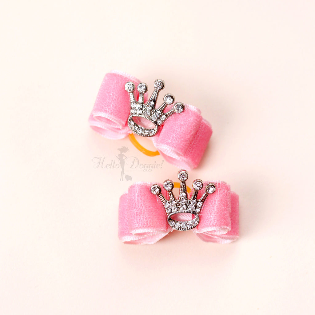 crystal, bow, hair, dog, tie, doggie, hello, rhinestones, hair tie, hair bow, dog hair bow, luxury hair bows, luxury dog products, pet, products, accessories, sparkle, sparkly, crown, royalty, pink