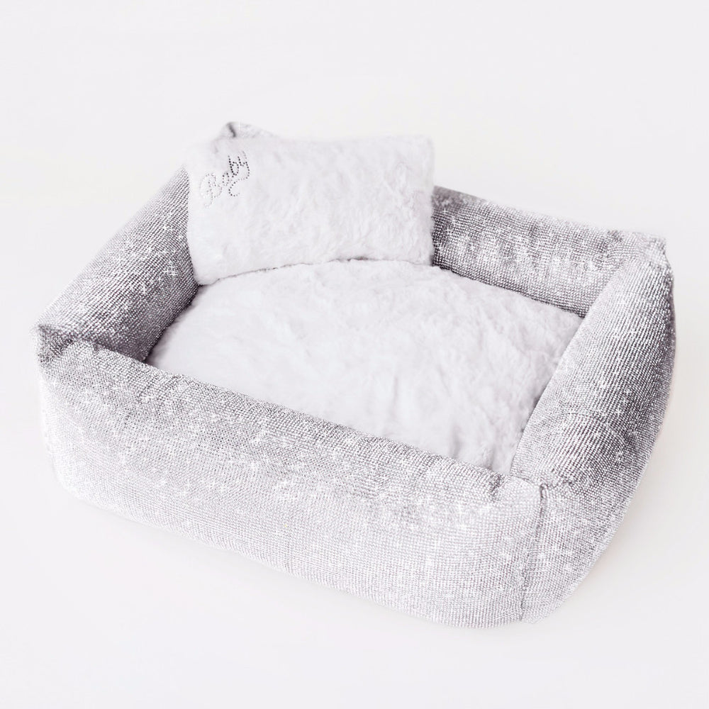 crystal, bed, dog, dog bed, puppy, doggie, doggy, pet, pet bed, crystal bed, soft, cuddly, comfort, luxury, luxury dog bed, luxurious, sparkle, sparkly, rhinestones, glamorous, silver, royal, royalty, plush, one of a kind, imperial, handcrafted, usa, made in usa, elegant, dreamy, bolster, baby, prima, donna, pink,