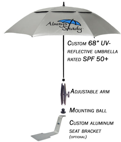 Always Shady Boat Umbrella - Mountable to your boat seat for shade all day long.