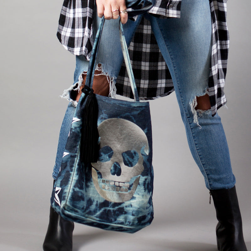 ANDROMEDA SKULL HOBO - Distressed Denim