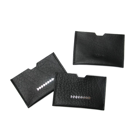 JMACK 83 CARD WALLET - Black Gravel Veg / Silver
