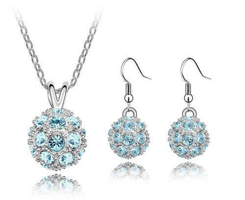 CRYSTAL BALL DROP JEWELRY SET