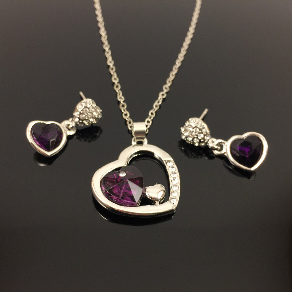 TWO HEARTS IN A HEART JEWELRY SET