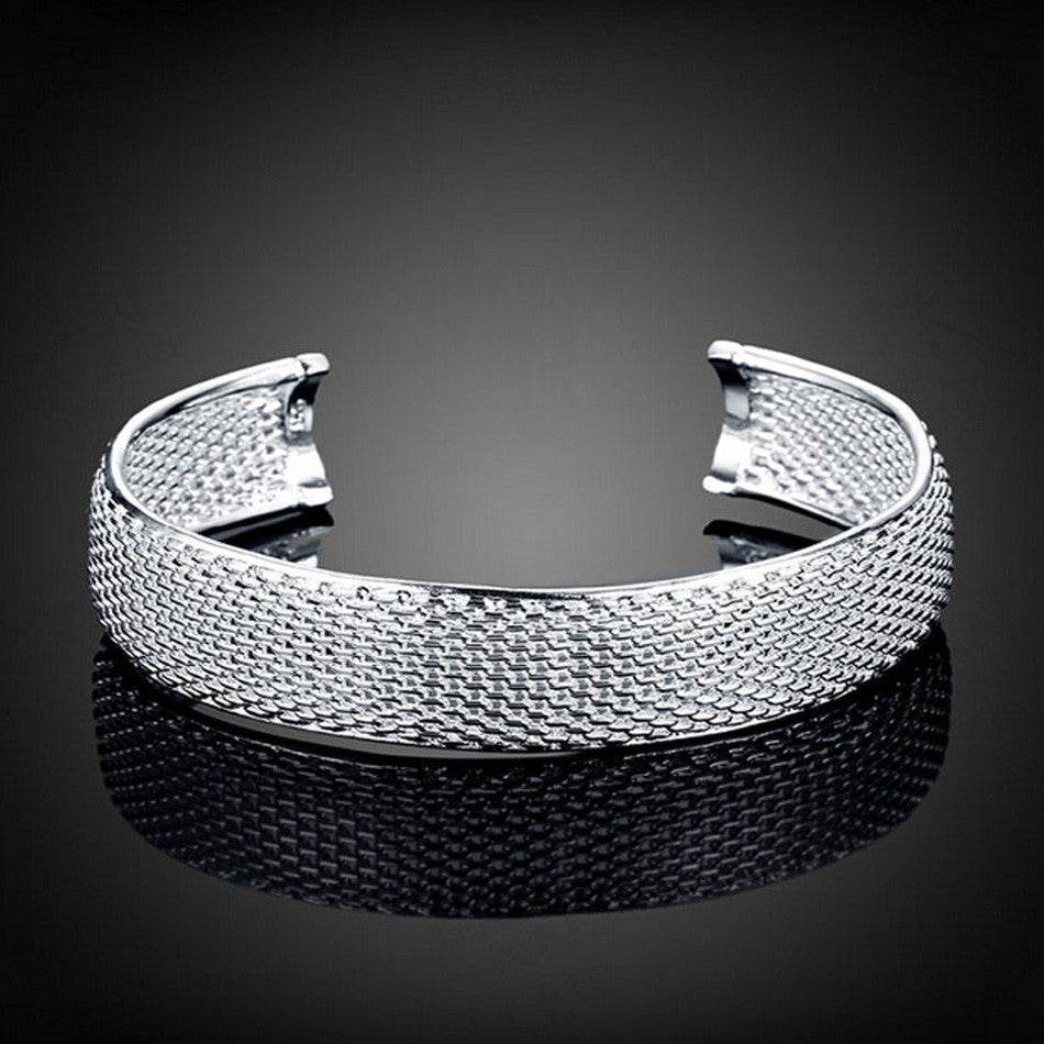 ALL MESHED UP SILVER BANGLE