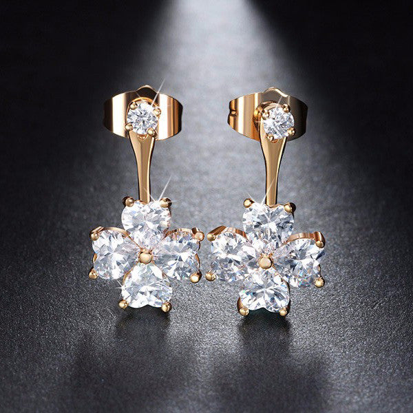CRYSTAL FLOWER DROP STUD EARRINGS
