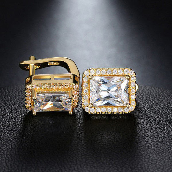 DAZZLING EMERALD CUT EARRINGS
