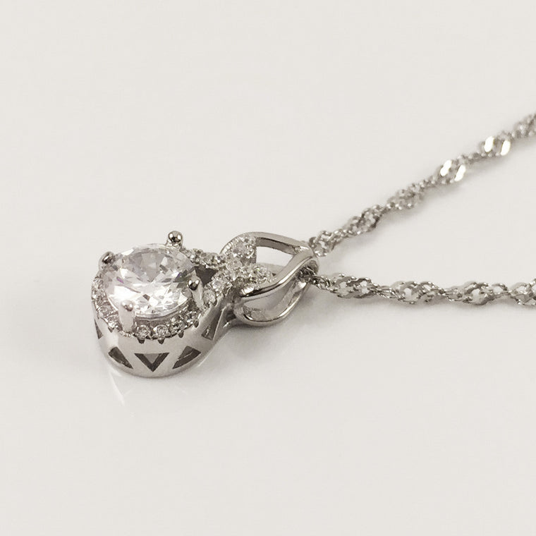 HALO SOLITAIRE PLATINUM NECKLACE