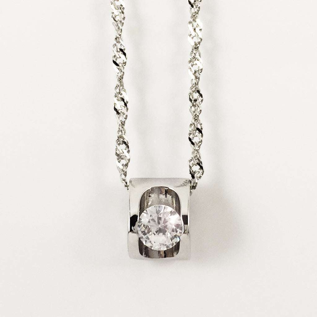 SPARKLE IN THE HEART PLATINUM NECKLACE