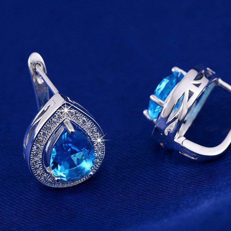 WATER DROP BLUE ZIRCON EARRINGS