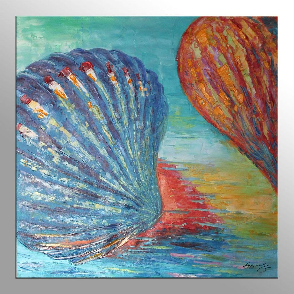 Abstract Oil Painting Modern Wal Art Colorful Sea Shell Original Artwork Impasto Textured Palette Knife Painting Framed Ready to Hang