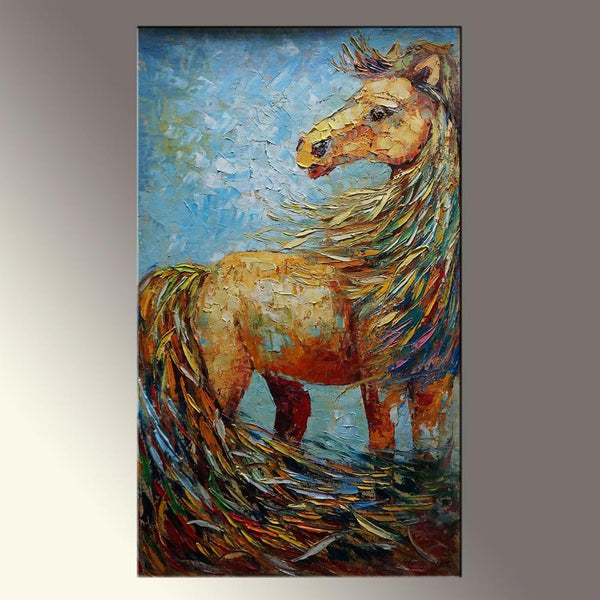 Horse Oil Painting, Palette Knife Oil Painting, Large Horse Art, Coffee Wall Art, Abstract Oil Painting, Living Room Wall Art, Horses Art