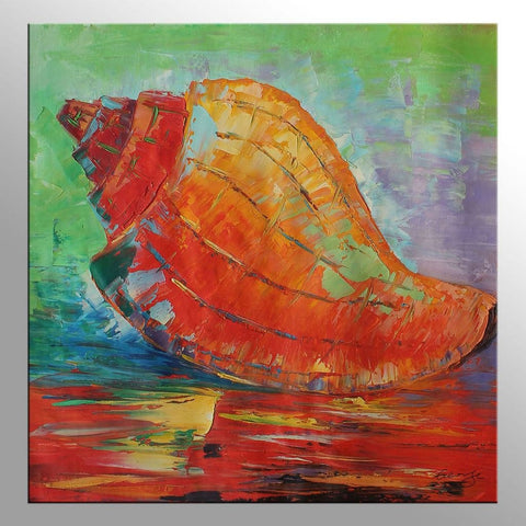 Sea Shell Living Room Wall Decor Original Artwork Large Canvas Art Abstract Art Modern Painting Canvas Art Palette Knife Oil Painting Framed