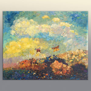 Landscape Painting, Oil Painting, Butterfly Painting, Palette Knife Oil Painting, Abstract Landscape, Modern Art, Living Room Decor, Large