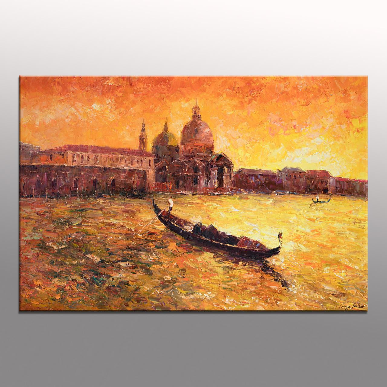 Italian Venice Oil Painting, Gondola, Palette Knife Painting, Living Room Art, Modern Art, Abstract Painting, Large Wall Art Painting, Huge