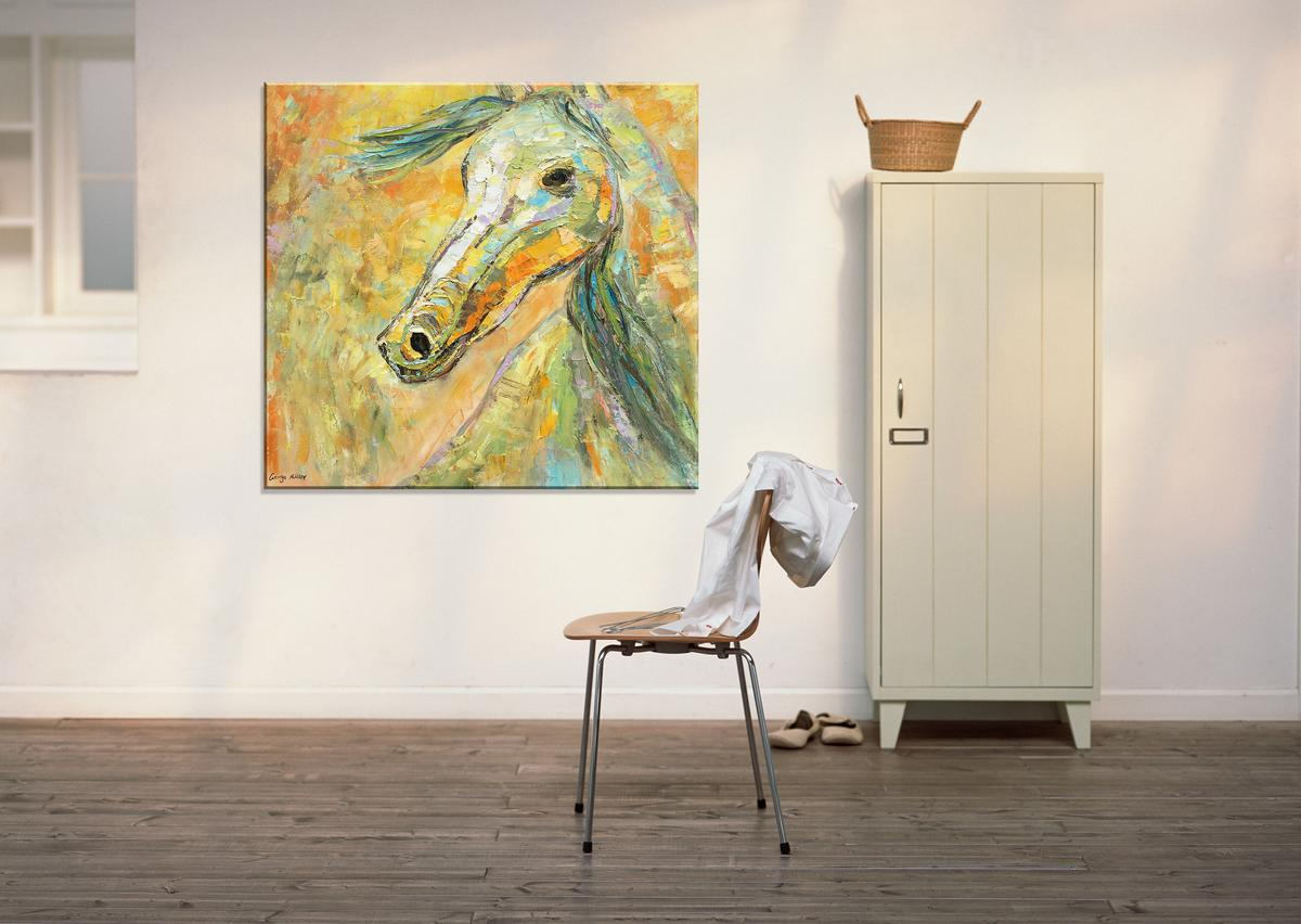 Horse Oil Painting, Square, Large Art, Palette Knife Oil Painting, Abstract Art, Abstract Canvas Painting, Large Canvas Wall Art, Knife Art