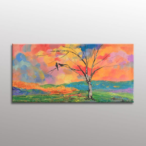 Landscape Oil Painting, Painting Abstract, Living Room Wall Decor, Modern Art, Abstract Canvas Painting, Love Birds, Large Canvas Wall Art