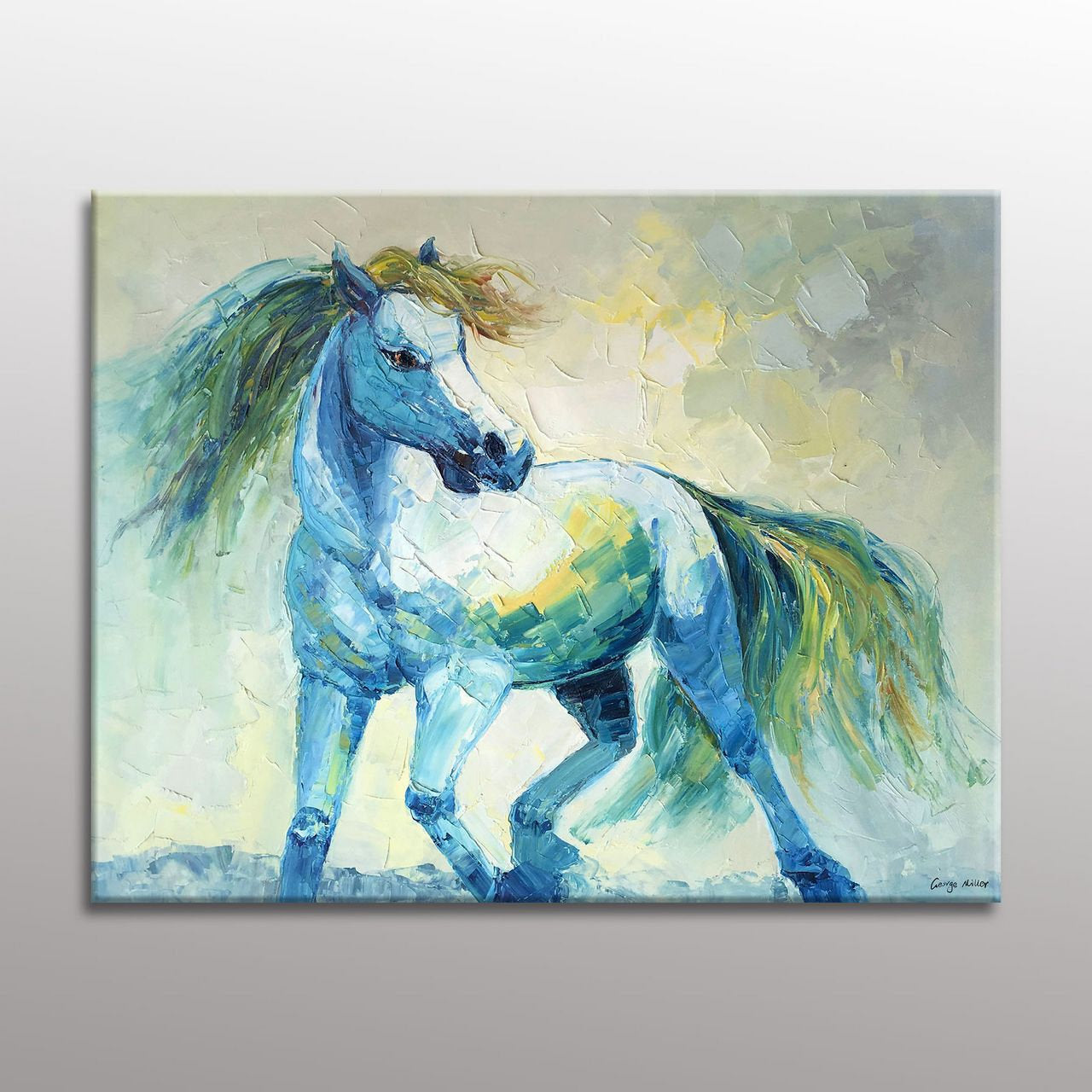 Abstract Art, Large Canvas Painting, Horse Artwork, Contemporary Art, Coffee Wall Art, Bedroom Wall Decor, Abstract Canvas Art, Original Art
