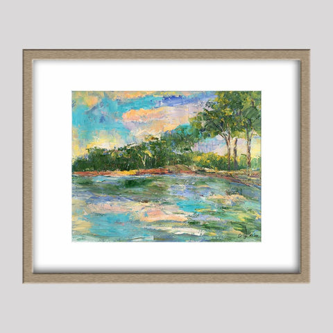 Landscape Painting, Trees River Bank, Original Abstract Art, Abstract Canvas Painting, Small Abstract Art, Modern Art, Painting Abstract