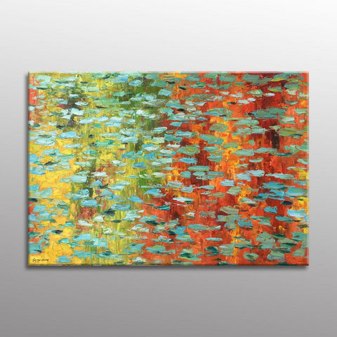 Pond with Waterlilies, Palette Knife Painting, Oil Painting, Large Landscape Painting, Contemporary Wall Art, Abstract Canvas Painting