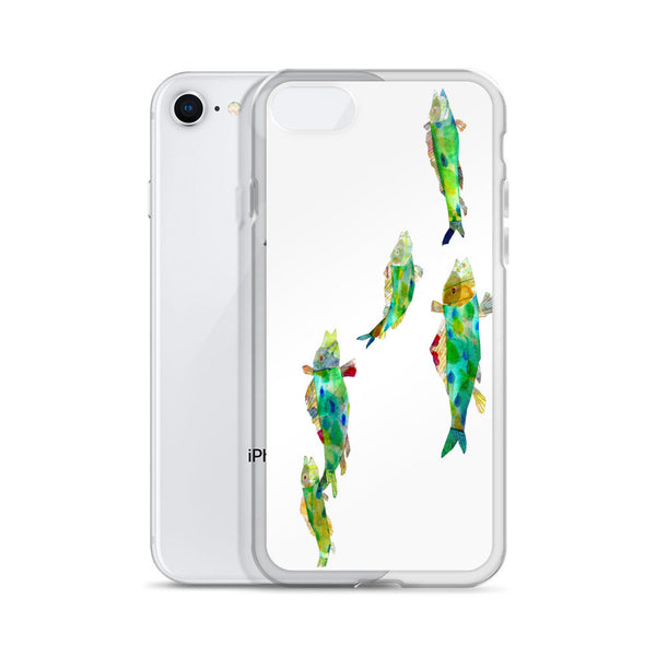 iPhone X Case, Green Fishes iPhone Case, iPhone 6 Case, iPhone 6s Case, iPhone 6s Plus Case, iPhone 7/7 Plus Case, iPhone 8/8 Plus Case