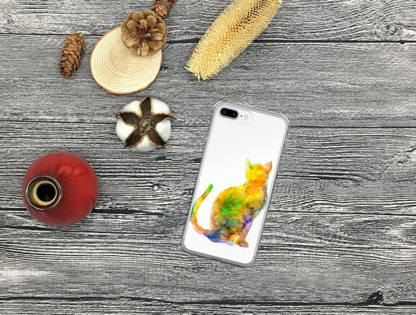 iPhone Case, iPhone X Case, iPhone 6 Case, iPhone 6s Case, iPhone 6s Plus Case, iPhone 7/7 Plus Case, iPhone 8/8 Plus Case, Watercolor Cat