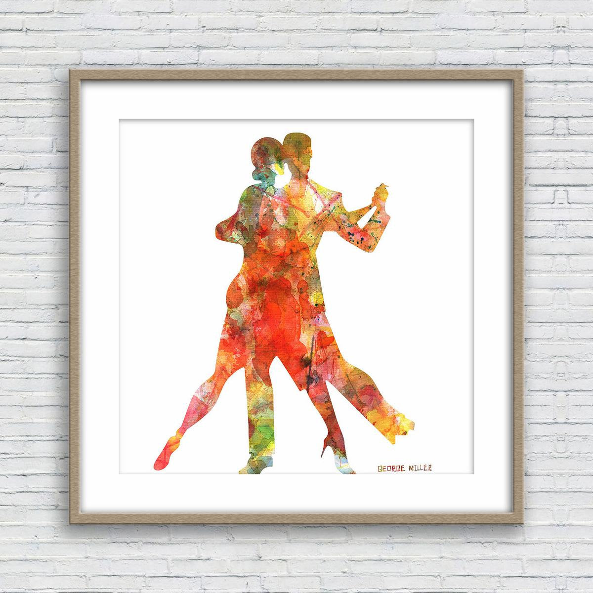 Tango Dance Art Print, Watercolor Art, Wall Decor Bedroom Above Bed, Abstract Art Prints, Art Print, Artwork, Modern Wall Art, Original Art