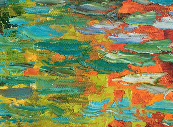 Abstract Canvas Painting, Landscape Painting, Waterlilies, Abstract Oil Painting, Oil Painting Original, Spring Landscape Painting