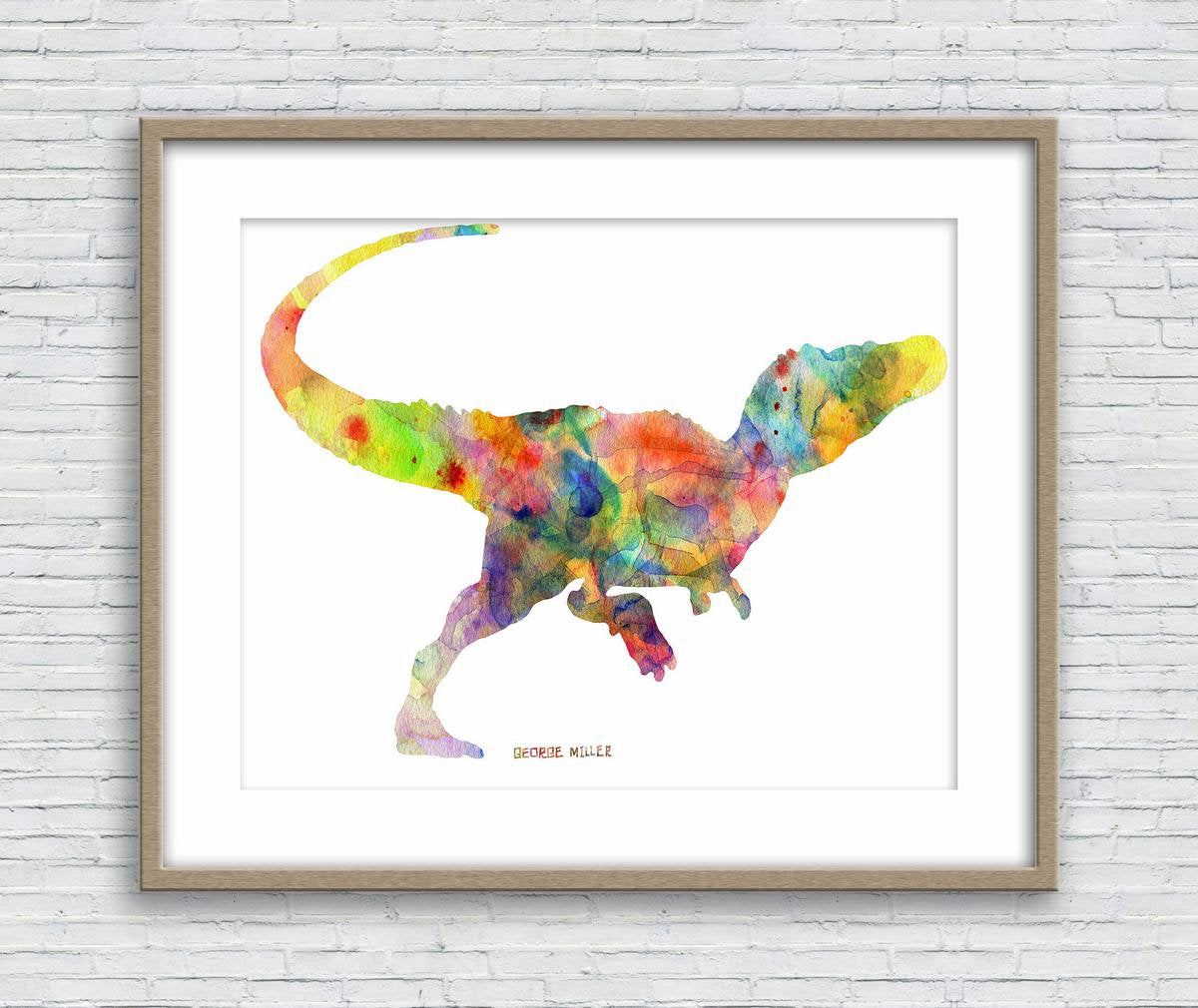 Print Wall Art, Dinosaur Watercolor Painting Original, Wall Prints, Abstract Art, Art Print Watercolor, Modern Wall Art, Watercolor Art