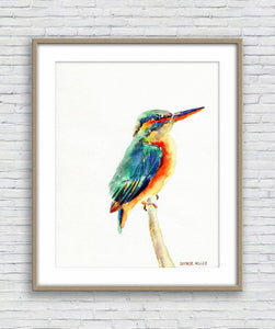 Kingfisher Watercolor Print, Wall Art Abstract, Abstract Watercolor Print, Art Print Watercolor, Artwork Original, Modern Art, Artwork