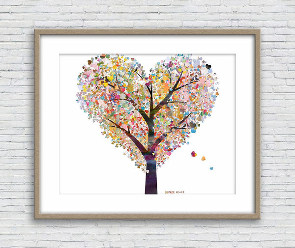 Love Tree Print, Watercolor Print, Wedding Gift, Wall Art Abstract, Abstract Artwork, Art Print Watercolor, Artwork Original, Modern Art