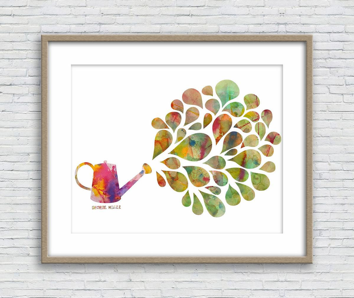 Prints Wall Art, Watercolor Print, Watering can, Wall Decor Bedroom Above Bed, Abstract Painting, Art Prints Watercolor, Kitchen Art Print