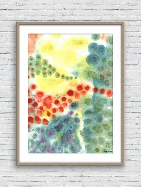 Abstract Prints Art, Watercolor Abstract, Wall Prints Minimalist, Abstract Wall Art, Art Print, Artwork, Modern Art, Red and Green