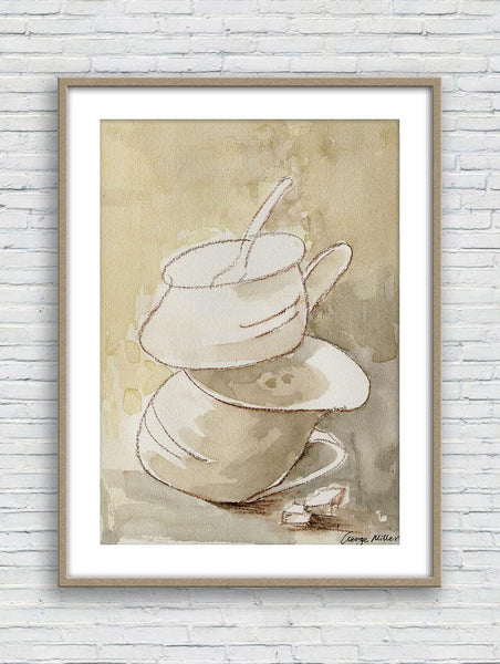 Coffe Cups Print Art, Watercolor Print, Wall Decor Bedroom, Abstract Landscape Painting, Art Prints, Artwork Original, Kitchen Wall Decal