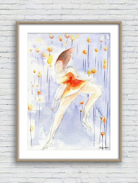 Girl in Flower Field Print, Watercolor Print, Wall Art Abstract, Abstract Artwork, Art Prints Watercolor, Artwork, Modern Art Print