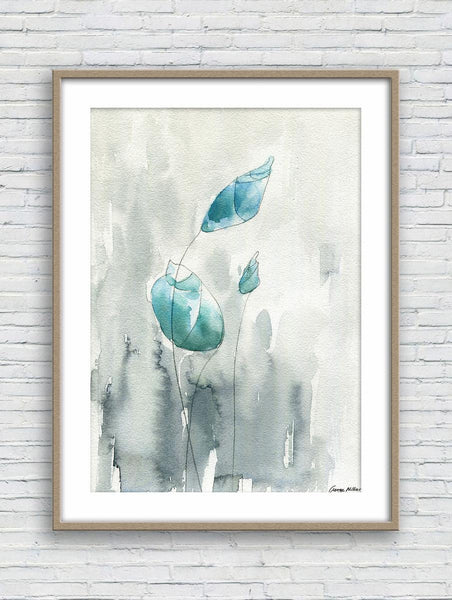 Print Art, Watercolor Print, Wall Decor Bedroom Above Bed, Abstract Artwork, Art Print Watercolor, Artwork, Modern Wall Art, Blue Flowers