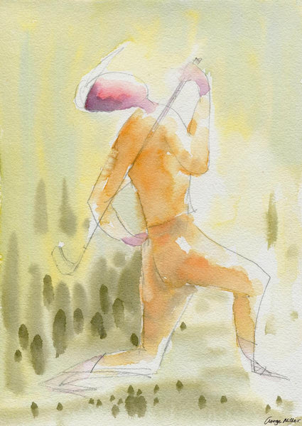 Golf Player Print, Watercolor Print, Wall Hanging, Abstract Artwork, Art, Artwork, Modern Art Print, Original Art Prints, Kitchen Art