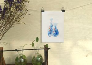 Blue Watercolor Print, Vases with Waterlilies, Wall Decor Living Room, Abstract Wall Art, Art, Artwork, Modern Wall Art, Abstract Art