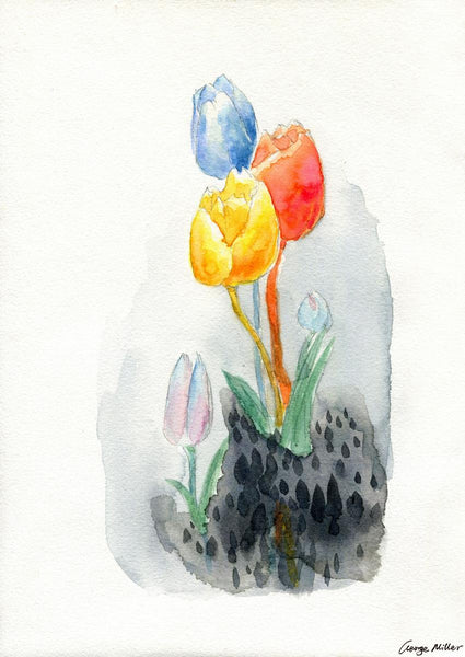 Tulips Print, Watercolor Art, Wall Decor Living Room, Abstract Print, Art, Artwork Original, Modern Art Print, Original Abstract Art