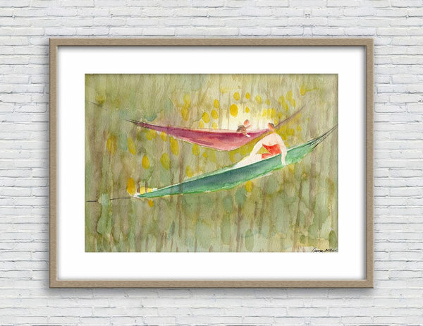 Watercolor Print, Family in the Picnic, Wall Art, Abstract Wall Art Prints, Art Prints Watercolor, Artwork, Modern Art Print, Original Art