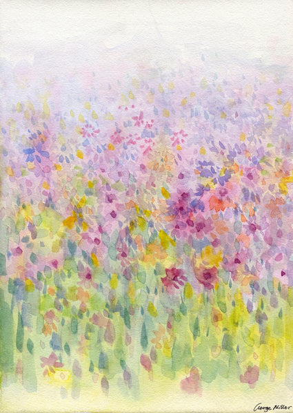 Spring Lavender Fields Print, Watercolor Flowers Print, Wall Art Prints, Abstract Artwork, Art Prints Watercolor, Artwork Original, Modern