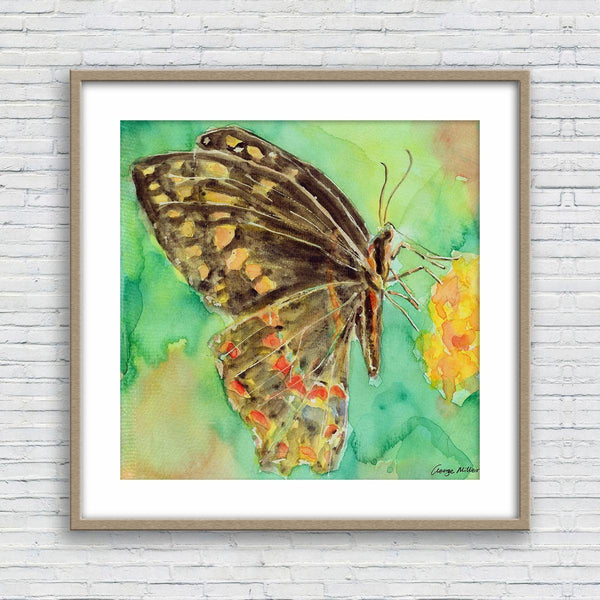 Butterfly Print Wall Art, Watercolor Print, Wall Prints, Abstract Wall Art, Fine Art Prints, Artwork Original, Modern Art Print, Square