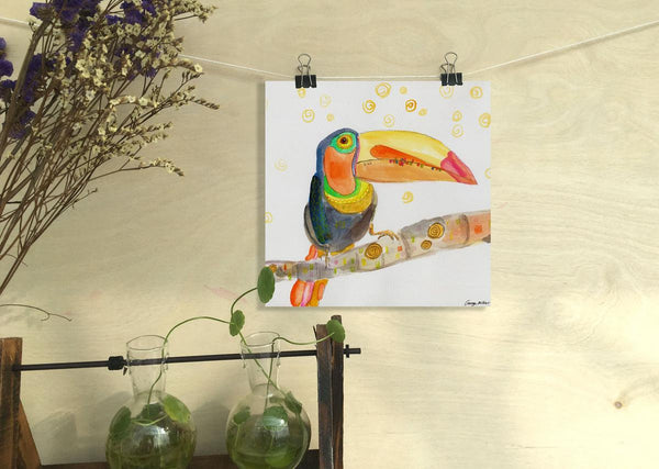 Toucan Print, Watercolor Print Bird, Wall Decor Bedroom, Abstract Print, Art Print, Artwork, Modern Wall Decor, Original Art Landscape