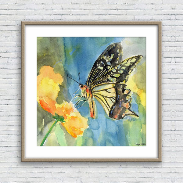 Butterfly Watercolor Print, Wall Decor Dorm, Abstract Wall Art, Art, Artwork, Modern Wall Art, Original Painting Abstract, Botanical Art