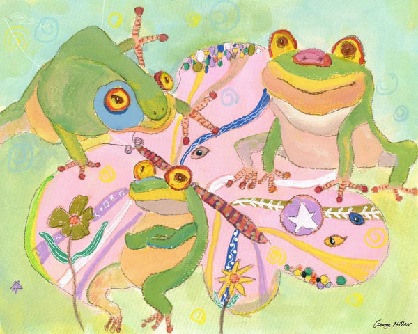 Print Art, Watercolor Art, Wall Decor Bedroom Above Bed, Abstract Art Print, Art Print, Artwork, Wall Art, Frogs Fantasy, Kids room Decor