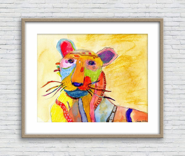Tiger Watercolor Print, Kids Room Decor, Wall Decor Dorm, Abstract Art Print, Art Prints Watercolor, Artwork Original, Modern Art Painting