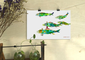 Fish Print, Watercolor Painting Original, Wall Decor Bedroom Above Bed, Abstract Art, Art, Artwork And Prints For Walls, Modern Art