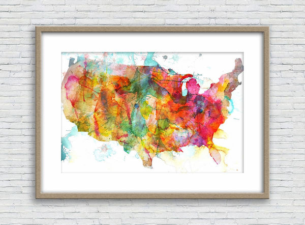 American Map, USA Map, Print Wall Art, Watercolor Print, Wall Decor Dorm, Abstract Watercolor Print, Art Prin, Modern Wall Decor